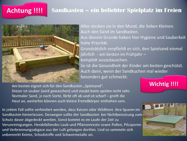 Sandkasten - ein beliebter Spielplatz im Freien!